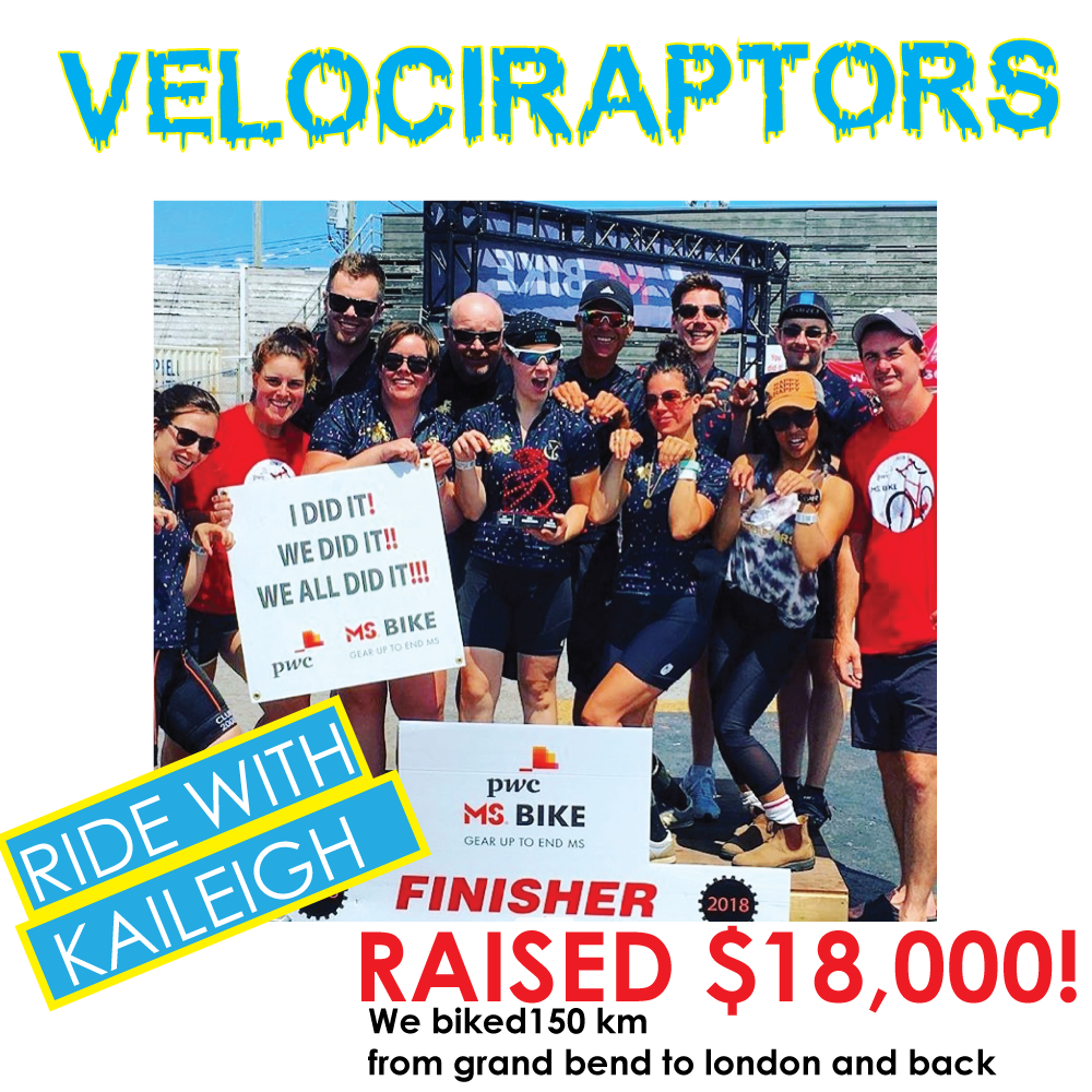I DID IT. WE DID IT. WE ALL DID IT. - LAST YEAR This awesome little team called the Velociraptors raised $18,000 for MS!Team of 12 rode 150 km from Grand bend to London and back.The YOGA CHAPPLE is excited for THIS YEARS RIDE!!NEW GOAL20 riders and $20,000 dollars.Join us !!!July 27-28th 2019If your interested email us. info@theyogachapple.com contact joanie.OR FOLLOW THE LINKS AT THE BOTTOM