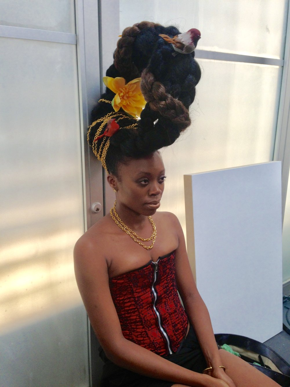Akilah Walker after hair & makeup on the day she posed as the basis of Kehinde Wiley's 'Bound', 2013
