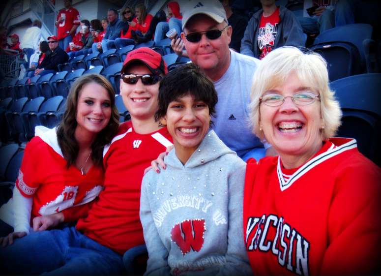 IN THE HUDDLE: (left to right) Lindsay, Max, Ani, Mike and Peg Grafwallner enjoy a day rooting for the Badgers.