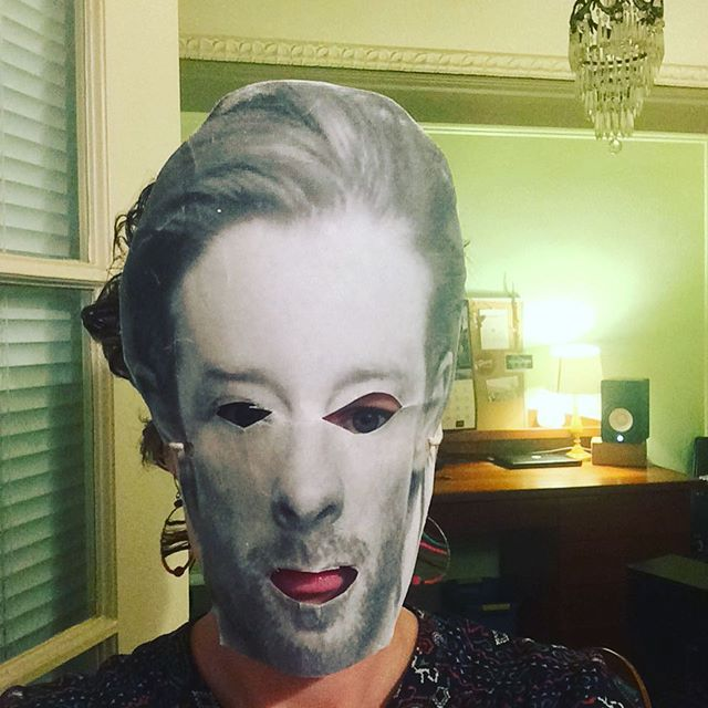 Happy #Halloween. I go by Tilda Yorke. Or maybe Thom Swinton depending on the day. #thomyorke #tildaswinton #mask