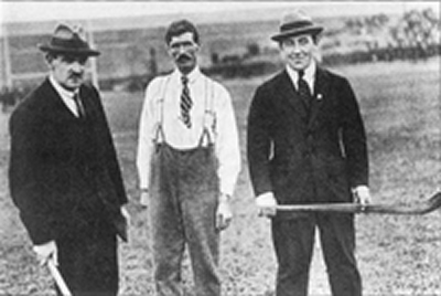 Michael Collins, Paddy Dunphy and Harry Boland at a hurling final in Croke Park circa 1920.   Later Collins and Boland were to take opposite sides in the Civil War.