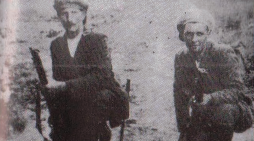 Bill Boucher, Little Portland, Nenagh and Jack Moloney, Roscrea, taken on the day that the Truce was declared in the War of Independence, 1921.
