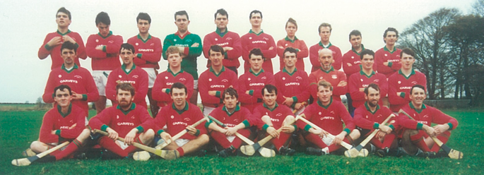 The victorious Cashel King Cormac's panel of 1991  Back row, left to right: Seanie O'Donoghue, James O'Donoghue (RIP), Ramie Ryan, John Ryan, Pat O'Donoghue, John Grogan, Seanie Morrissey, Seanie Barron, Don Higgins, Joe Minogue; Middle row, left to right: Pa Fitzell, Willie Fitzell, Sean Slattery, Tommy Grogan, Ailbe Bonnar, Colm Bonnar (capt.), Cormac Bonnar, Conal Bonnar, Timmy Moloney; Front row, left to right: Joe O'Leary, Ger Slattery, Michael Perdue, Declan McGrath, Liam Devitt, T.J. Connolly, Tony Slattery, Peter Fitzell.