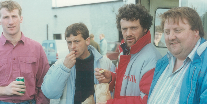 Cashel King Cormac supporters after county quarter-finals at Golden in 1991 Left to right: T.J. Connolly, Jim O'Leary, Brendan Bonnar, Denis Fitzgerald.