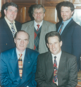 The management team in 1991 Back row, left to right: selectors, Jack Darmody, Aengus Ryan and Brendan Bonnar; Front row, left to right: club chairman, Seamus J. King and coach, Justin McCarthy