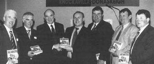 At the launch of the Kickhams Club History, left to right: Tom Hayes (Secretary), Seamus O'Dwyer (Chairman), Peter Quinn (who launched the book), J.J. Kennedy (author), Donal Shanahan (County Chairman), Sean Fogarty (Vice Chairman, Munster Council) and James O'Donnell (West Board Chairman)