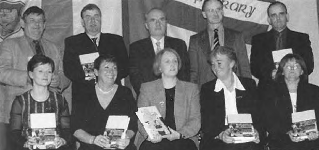 Launch of History of Camogie: Front row (from left): Maeve Stokes, Marion Graham, Miriam O'Callaghan, President Camogie Association, Mairin Ni Chearnaigh, Munster President; Anne Newe, Tipperary Leader. Back row (from left): Sean Fogarty, Vice-Chairman Munster Council; Donal Shanahan, Co. Chairman, G.A.A. , Seamus King and Martin Bourke, authors, Stephen Fitzgerald, Chairman, Camogie Board.