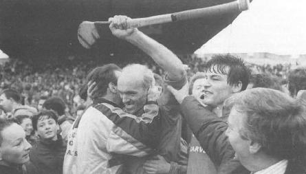 Cormac Bonnar is congratulated. James O'Donoghue celebrates