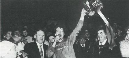 Colm Bonnar raises the Dan Breen Cup following the county final
