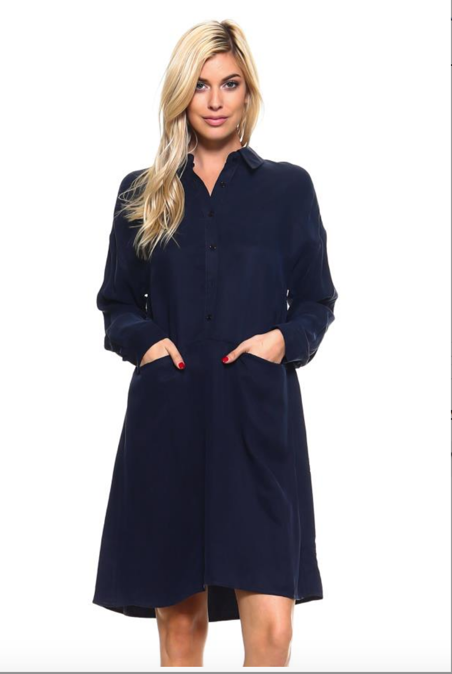 b858e243fd8c Navy Cupro Shirt Dress — Essentials And Frosting
