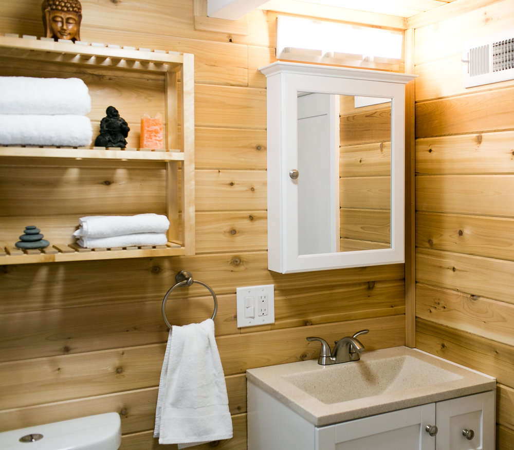 Cedar lined bathroom smells like a sauna