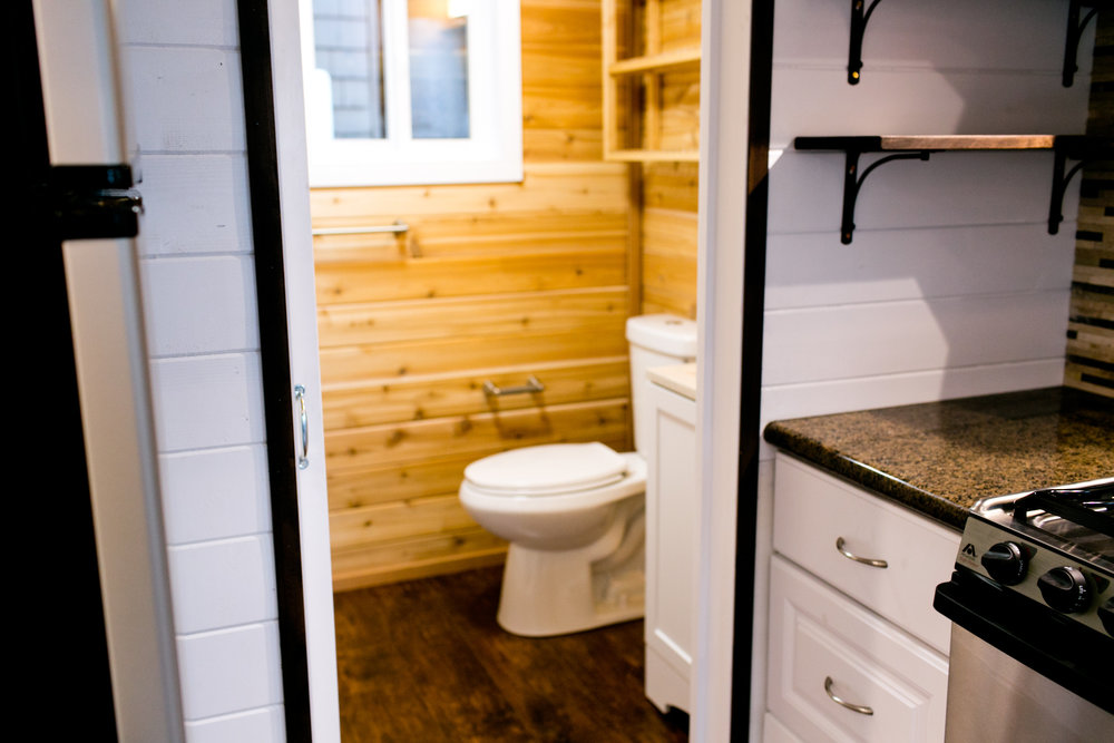 Pocket door into bathroom