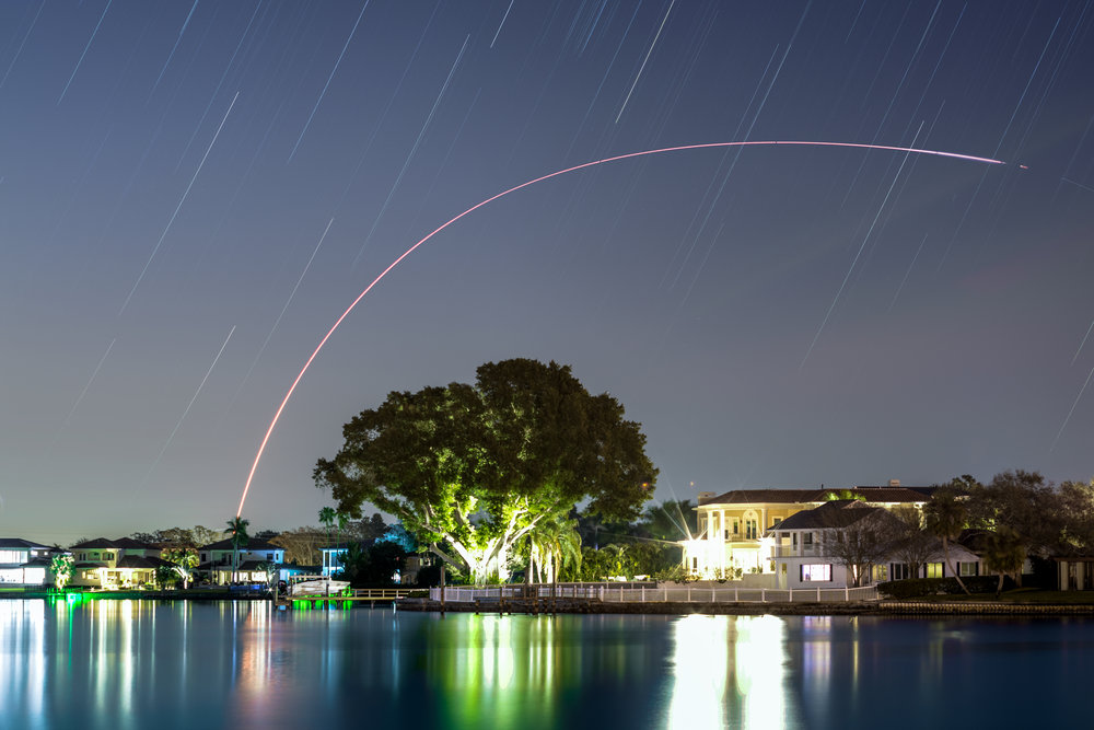 United Launch Alliance Atlas V rocket launching from Cape Canaveral as viewed from Coffeepot Bayou in St. Petersburg, FL