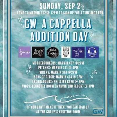 The GW A Cappella community is so excited for our Fall 2018 Auditions! If you are a singer or vocal percussionist, we would love to have you! Each group will have a table in the Marvin Center room 302 at 12pm this Sunday, September 2 for you to sign up for a time slot. Listed below are the start times and locations for each group's auditions.  Come get funky with us by preparing a verse and a chorus of a song that you feel best suits and showcases your voice. We can't wait to see you there!  Stay tuned for more MotherFunkers content as we prepare for the Student Performance Showcase this Friday at 7!
