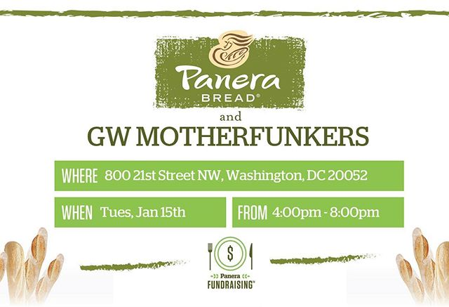 Don't forget to come out TOMORROW for a delicious Panera meal to benefit the MotherFunkers!