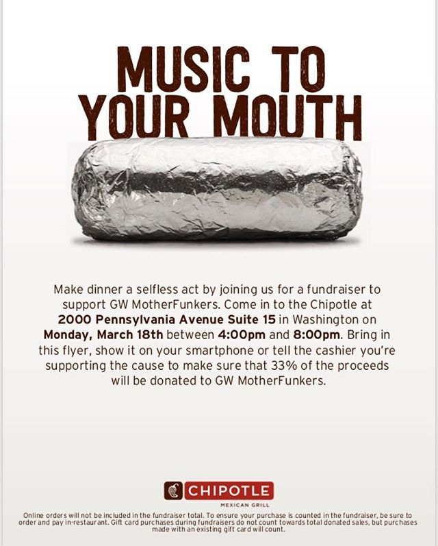 Come support the Motherfunkers by grabbing dinner at Chipotle TONIGHT from 4-8!