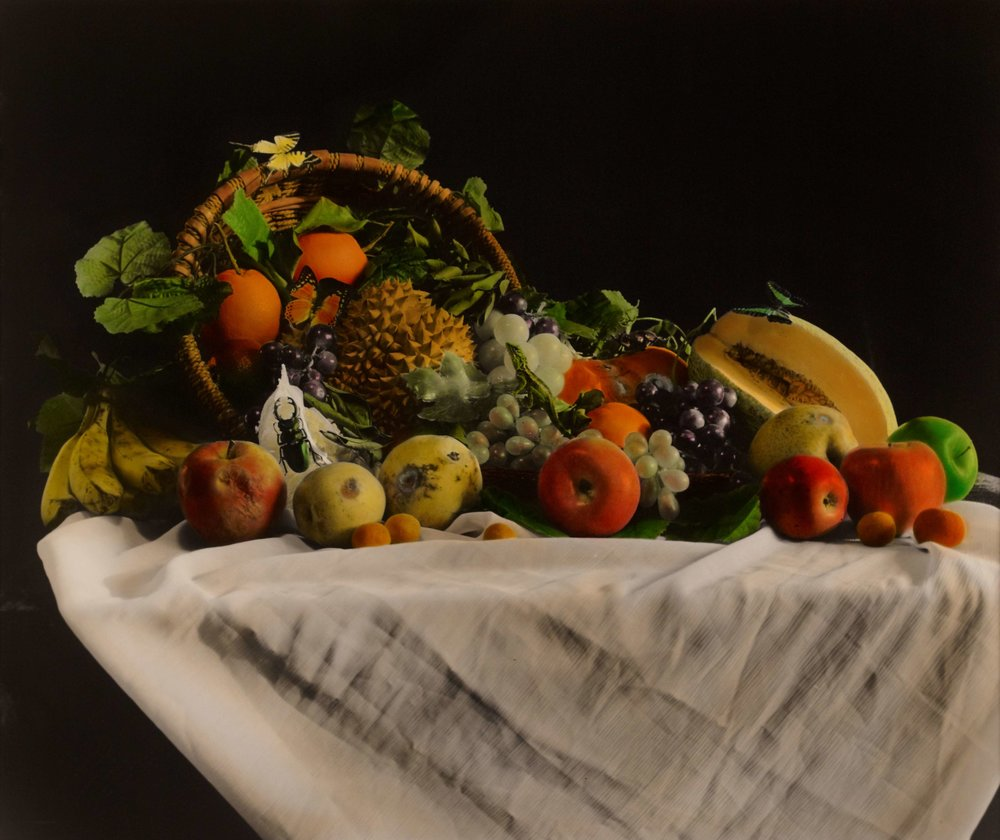 Huang Lei, Still Life 2008 (3-4), hand dyed with oil colour on gelatin silver print 黄磊 静物 2008 (3-4) 63 x 77cm 明胶卤化银黑白照片,手工油彩着色_compressed.jpg