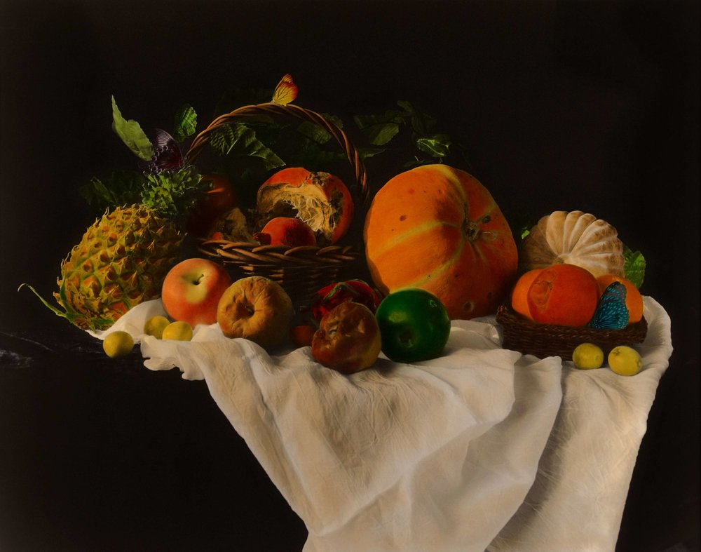 Huang Lei, Still Life 2008 (3-2), hand dyed with oil colour on gelatin silver print 黄磊 静物 2008 (3-2) 63 x 77cm 明胶卤化银黑白照片,手工油彩着色_compressed.jpg