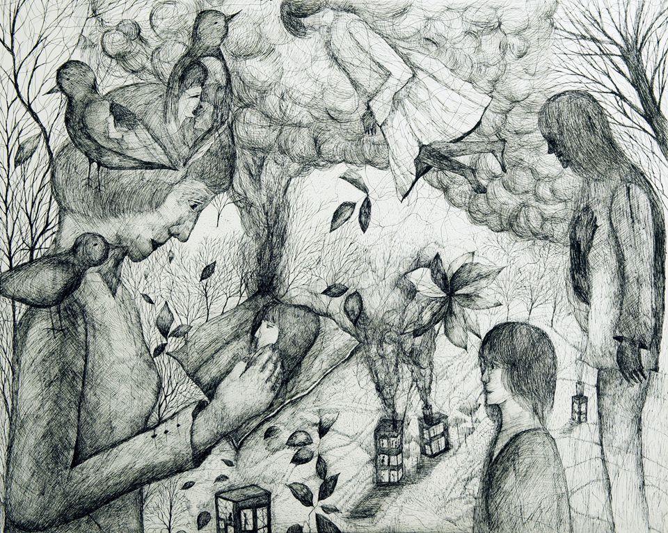 石仓真理,燃烧下去的书信之倒影,2015,纸上铅笔,91×72.7 ㎝.jpg