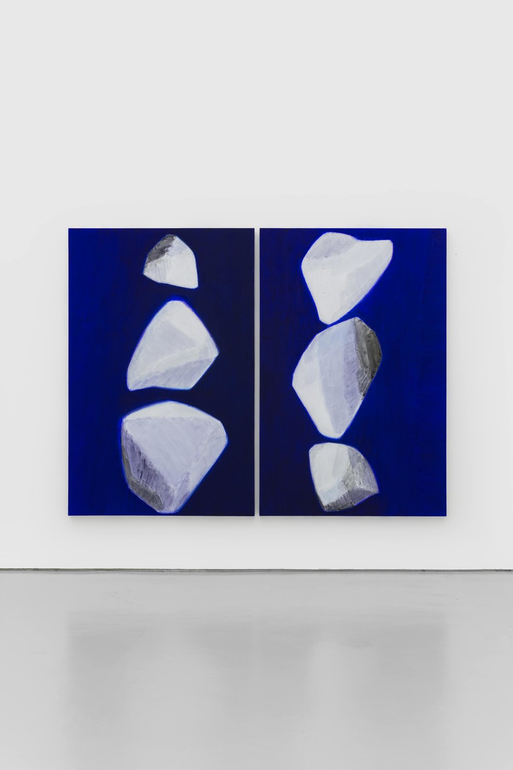 石至莹 Shi Zhiying | 白石 No.3 & No.2 White Stones No.3 & No.2 | 布面油画 Oil on Canvas | 200 x 130 cm x 2 | 2017 - Courtesy the artist and WHITE SPACE BEIJING.JPG