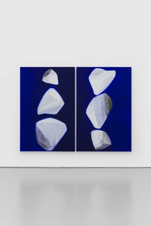 石至莹 Shi Zhiying | 白石 No.3 & No.2 White Stones No.3 & No.2 | 布面油画 Oil on Canvas | 200 x 130 cm x 2 | 2017 - Courtesy the artist and WHITE SPACE BEIJING.JPG