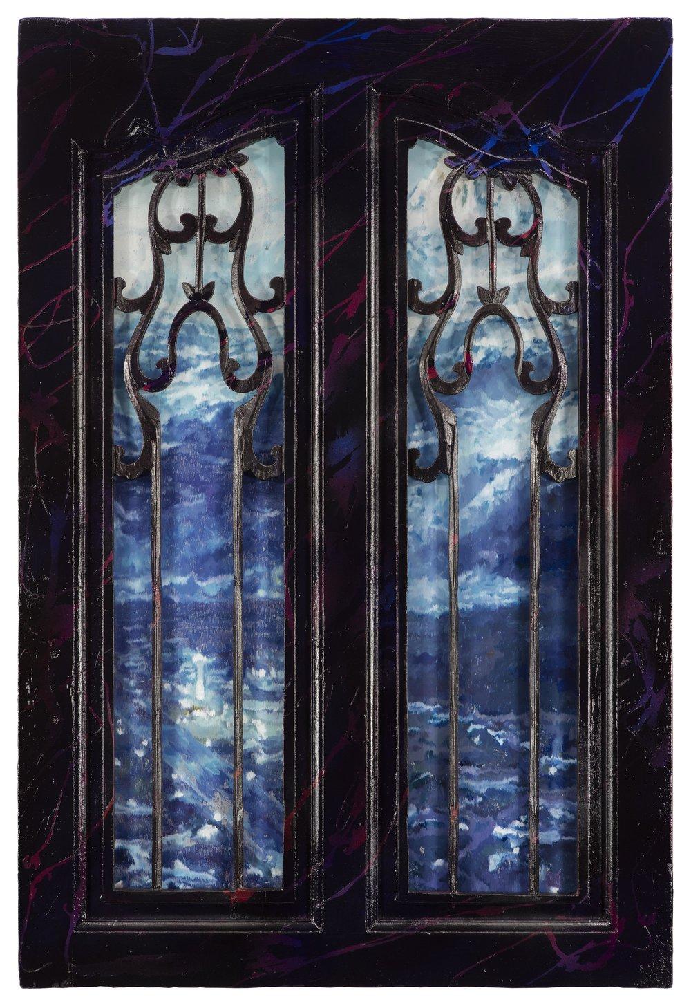李青 Li Qing   窗·海啸 Window · Tsunami 木、油彩、有机玻璃、丙烯、漆、铝塑板 Wood, Oil on Plexiglass, Acrylic, Paint, Aluminium-plastic Panel   72 x 49 x 3 cm  2017.jpg