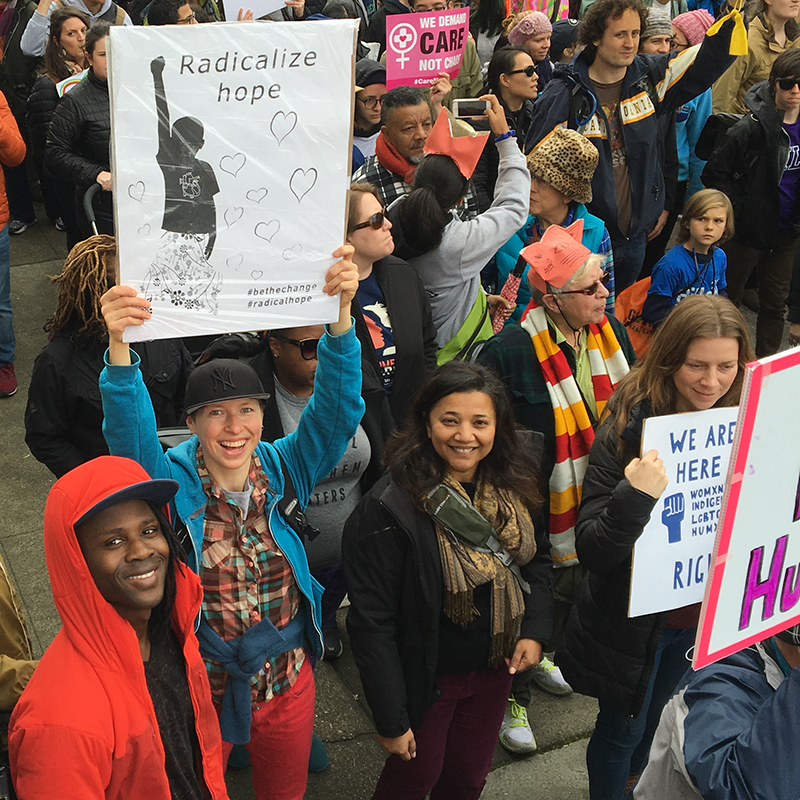 Some of our own ABDC designs in the crowd at the historic Womyn's March