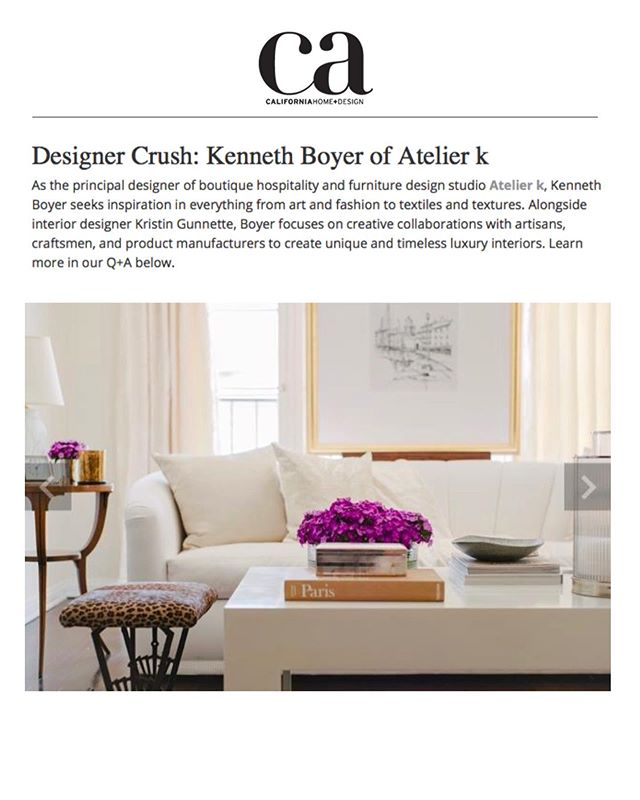 Head on over to @cahomeanddesign today to read all about our Principal Designer, Kenneth Boyer's start in design, his inspiration, upcoming projects, and more! We are so thrilled to be included in 'Designer Crush'! Thank you! . . . . #designercrush #losangelesdesigner #CAhomeanddesign #californiainteriors #lifeofadesigner #interiordesigner #style #interiors #editorial #losangeles #beverlyhills #california #californiadesign #luxuryinteriors #instagood #decoration #designlife #gooddesign #interiordesign #ladesigner #sfdesigner #designproject #interiorinspo #interiordecor #love #interior_design