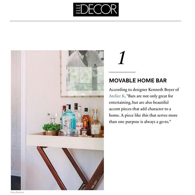 Working with a small footprint? Head over to @elledecor online for a few of our go-to small space tips that never compromise style! . . . . #elledecor #atelierkla #interiordesign #interiordesigner #interiordecorating #luxurydesign #interiorinspo #smallspacedesign #editorial #love #instagood #barcart #barcartstyling #smallspaces #ladesigner #sfdesigner #ralphlaurenhome #wallpaper #designlife #entertaining #californialiving #interiorinspo #interior_and_living #interiordecor