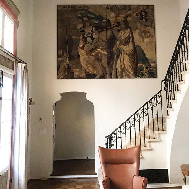 We love working on historical properties and incorporating unique and interesting artwork. . . . . #atelierkla #interiordecor #interiorinspo #spanisharchitecture #historicalbuilding #spanishcourtyard #losangeles #ladesigner #love #picoftheday #imageoftheday #instagood #tapestry #staircase