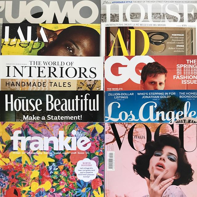 A few publications we look forward to reading each month here at our Atelier... @luomovogue @lala_magazine @theworldofinteriors @housebeautiful @frankiemagazine @houseandgardenuk @ad_italia @gq @lamag @vogueitalia . . . . #editorial #lifeofadesigner #interior_and_living #love #instagood #pictureoftheday #lifestyle #lifestyleblogger #fashion #ladesigner #interiordesigner #interiordesign #fashiondesign #losangeles #magazinecover #magazines #printpublication #style #tastemakers
