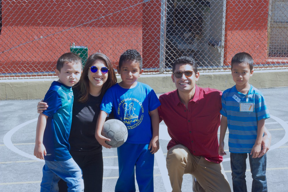 Pictured is Sarah Ahmed from Uber and Co-founder Vishal Sharma from Immigranted after an intense soccer match with these future stars