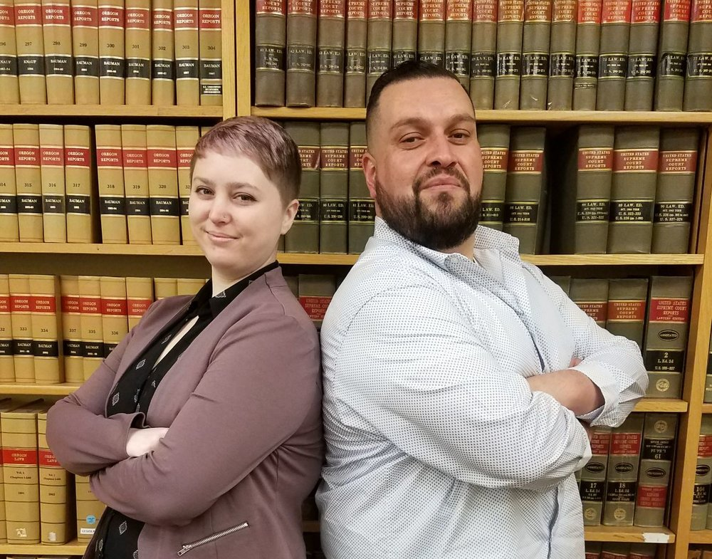 Third year law students Demi Jacques and Hugo Gonzalez-Venegas