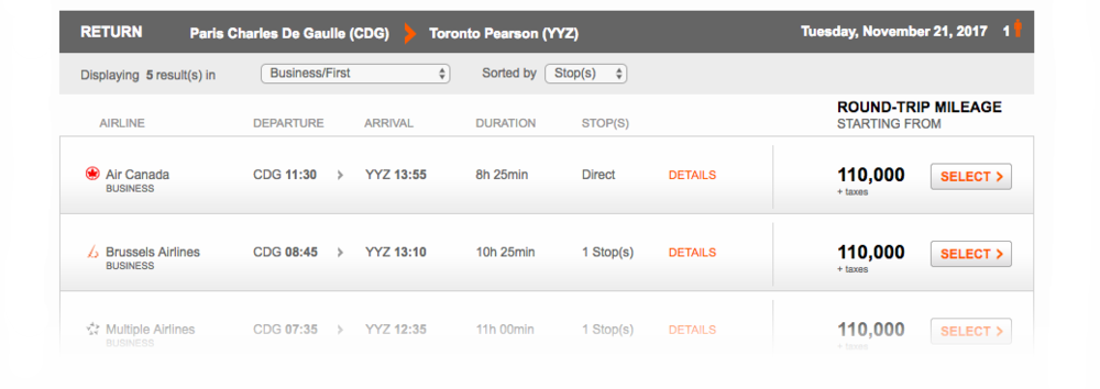 Aeroplan Search Result Paris to Toronto | Prince of Travel | Miles & Points