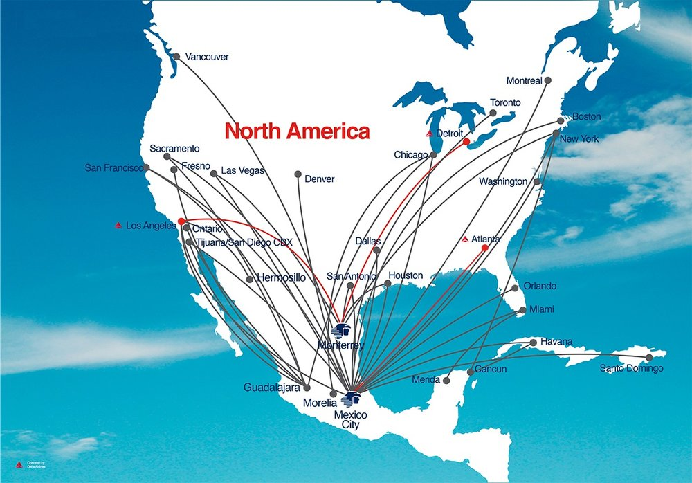 Aeromexico North American route map