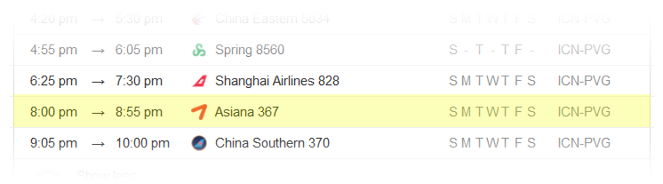 Seoul-to-Shanghai-flight-schedule
