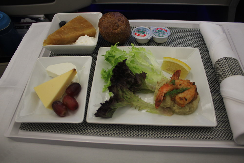 Brussels Airlines business class – Grilled shrimp