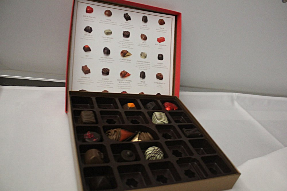 Brussels Airlines business class – Neuhaus chocolates