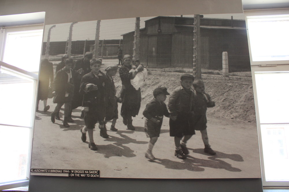 """On the Way to Death"": a photograph of young Jewish boys and their families who had just arrived at Auschwitz II–Birkenau and were making the walk to the gas chambers"
