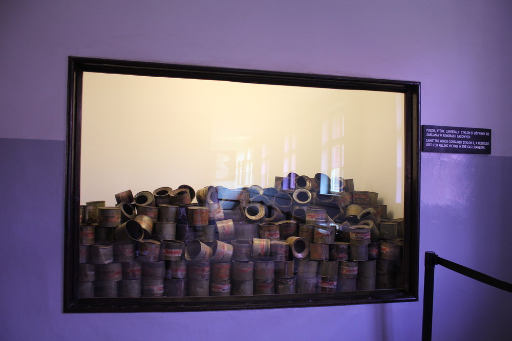 Discarded canisters of Zyklon B, the poisonous gas used in the extermination process