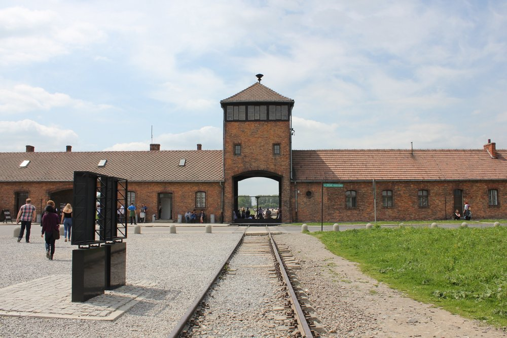 "The ""death gate"" at Auschwitz II–Birkenau: these were the gates that greeted 1.3 million Holocaust victims that perished at the Birkenau extermination camp, including 1.1 million European Jews"