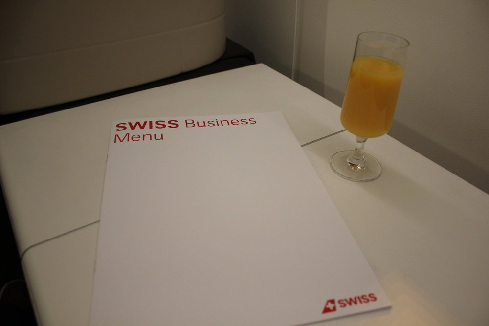 Swiss 777 business class – Welcome drink and menu