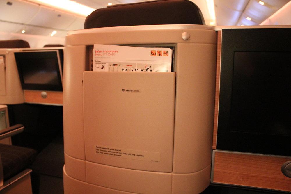 Swiss 777 business class – Seat back pocket