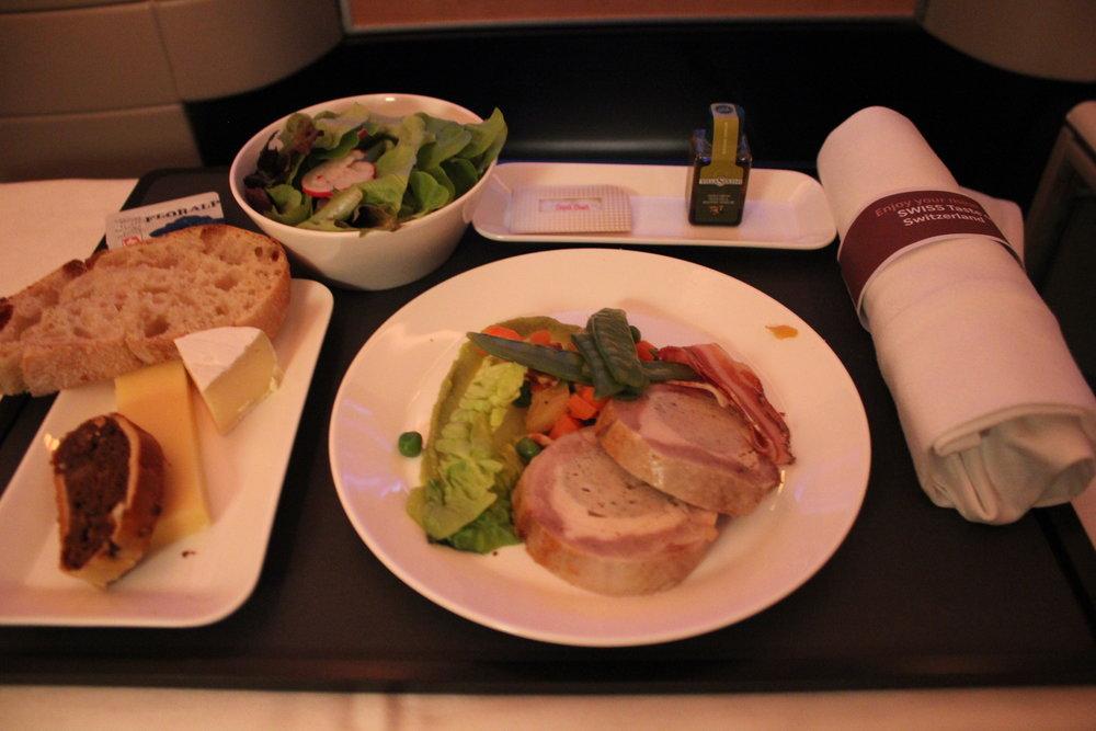 Swiss 777 business class – Quail galantine