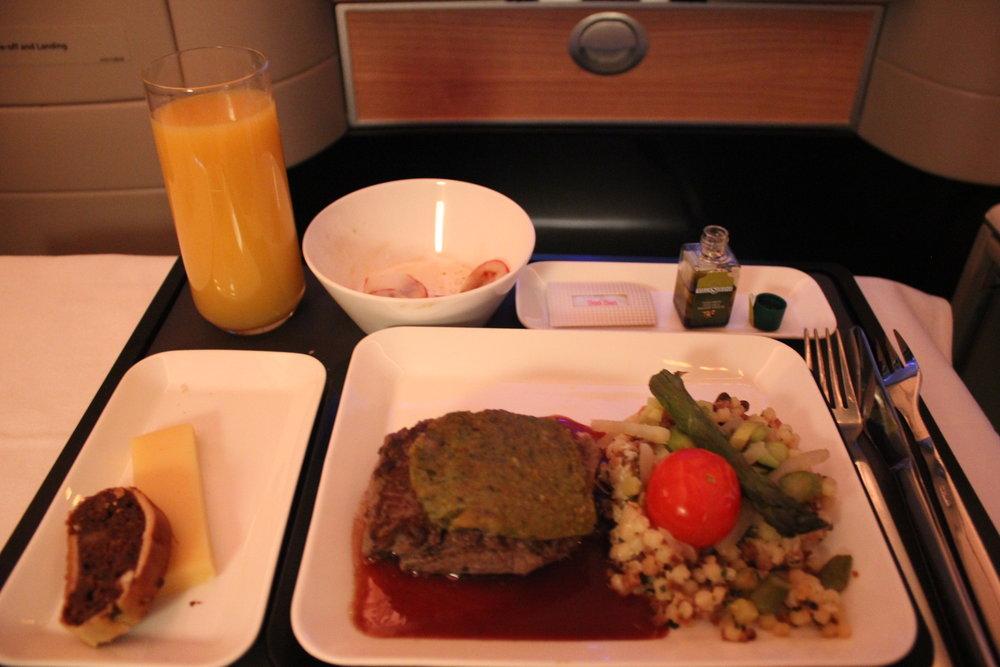 Swiss 777 business class – Beef tenderloin