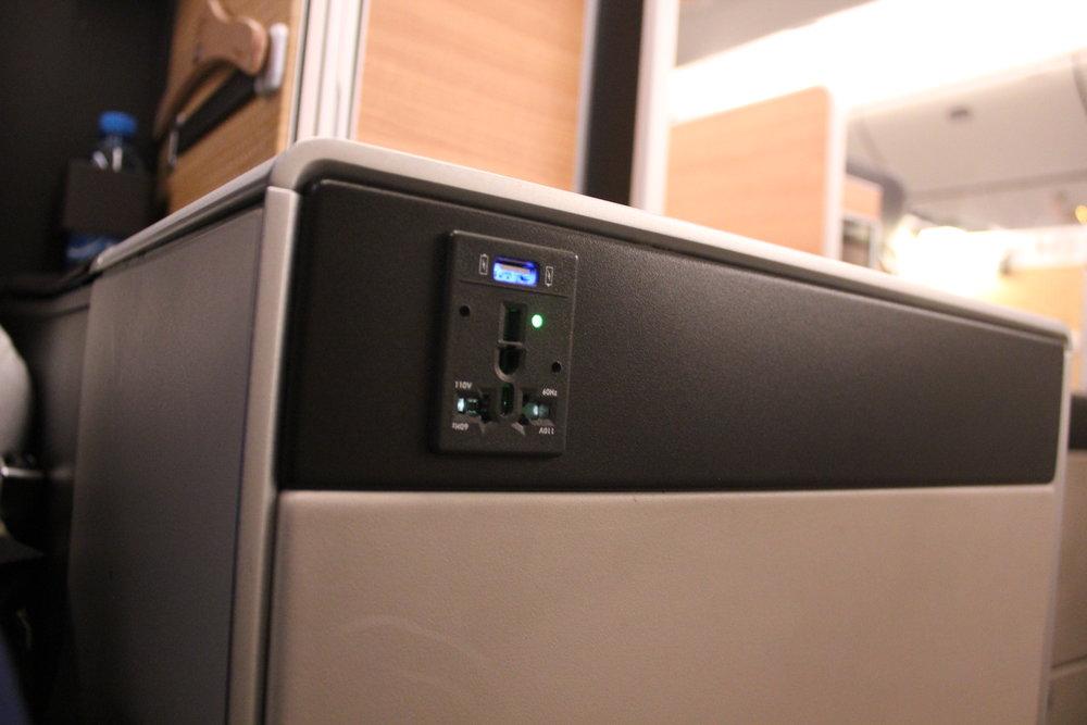 Swiss 777 business class – Power outlet