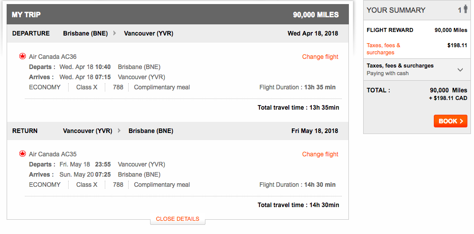 Aeroplan Brisbane to Vancouver | Prince of Travel | Miles & Points