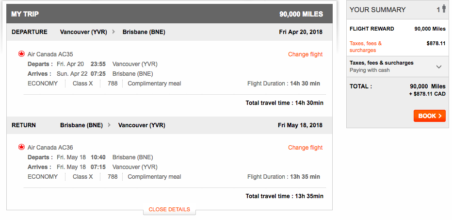 Aeroplan Vancouver to Brisbane | Prince of Travel | Miles & Points