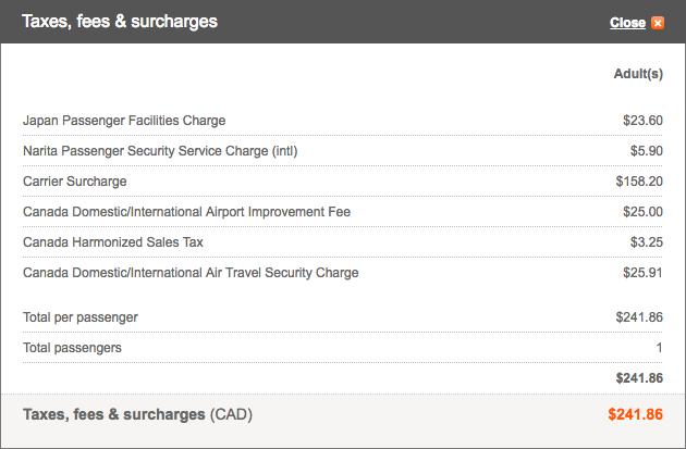 Aeroplan Tokyo to Toronto Taxes and Fees | Prince of Travel | Miles & Points