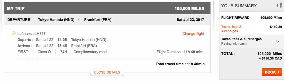 Aeroplan Tokyo to Frankfurt | Prince of Travel | Miles & Points